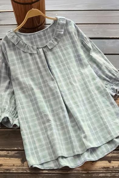 Trendy Women's Blouse Plaid Print Ruffles Half Sleeves Regular Fitted Shirt Blouse