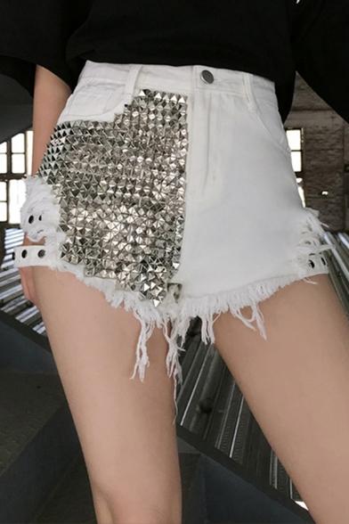 Trendy Womens Shorts Rivet Embellished High Waist Cut Out Tassel Relaxed Denim Shorts
