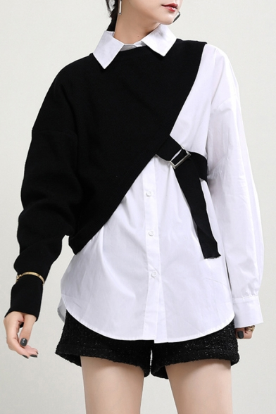 Basic Women's Shirt Solid Color Button Closure Point Collar Long Sleeves Relaxed Fit Shirt