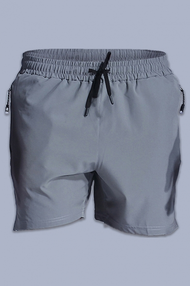 Fancy Men's Shorts Contrast Piping Side Split Drawstring Waist Invisible Zip Pocket Detail Elasticity Regular Fitted Fitness Shorts