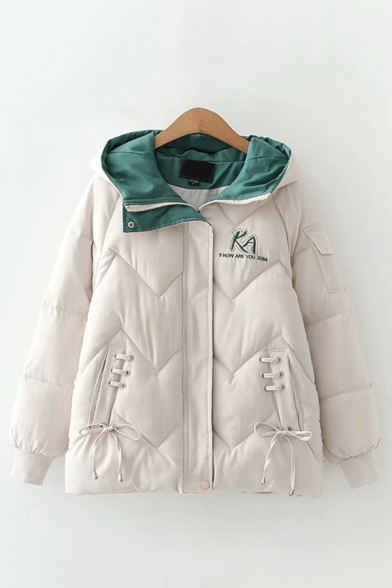 Fancy Women's Coat Quilted Lace up Side Pockets Color Block Front Tie Ribbed Trim Flap Pocket Long Sleeves Relaxed Fit Hooded Coat