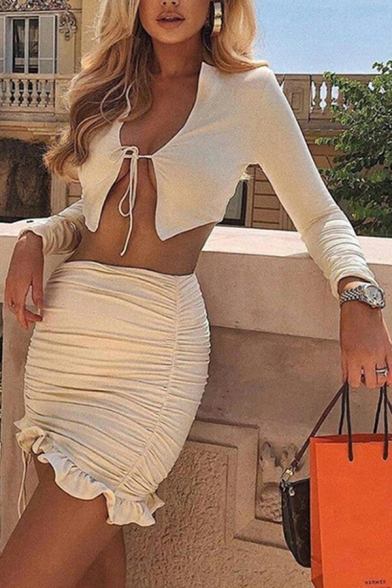 Fancy Women's Set Solid Color Plain Drawstring Front Long Sleeves Tee Top with Ruched Ruffles Mini Skirs Co-ords