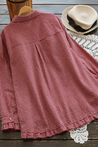 Leisure Women's Shirt Blouse Plaid Pattern Button Fly High-Low Point Collar Ruffles Trim Long Sleeves Relaxed Fit Shirt Blouse