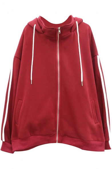 Stylish Women's Jacket Three Stripe Pattern Side Pocket Stand Collar Long Sleeves Zip Closure Drawstring Hooded Jacket