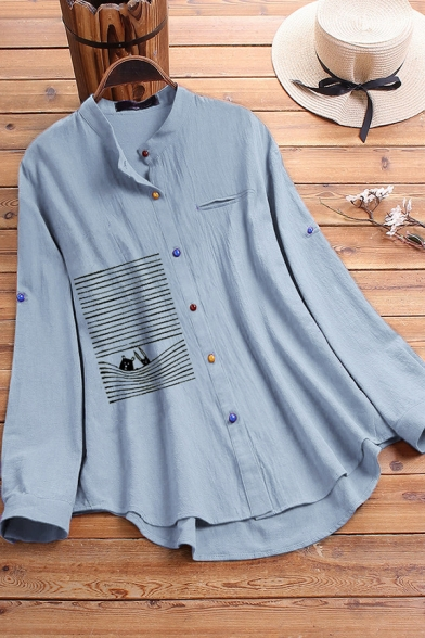 Creative Women's Blouse Colorful Button-down Cartoon Figure Embroidered Long Sleeves Asymmetrical Hem Cotton and Linen Relaxed Fit Shirt Blouse