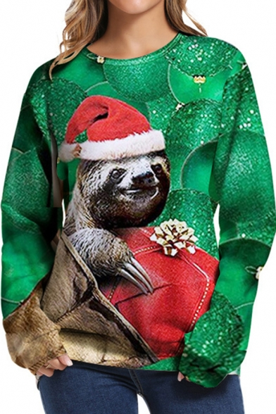Fancy Sweatshirt Sloth Christmas Tree 3D Printed Long Sleeve Crew Neck Relaxed Fit Pullover Sweatshirt in Green-red