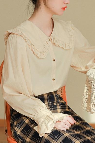 Leisure Women's Shirt Blouse Solid Color Ruffles Hem Peter Pan Collar Long Flare Cuffs Sleeves Regular Fitted Shirt Blouse