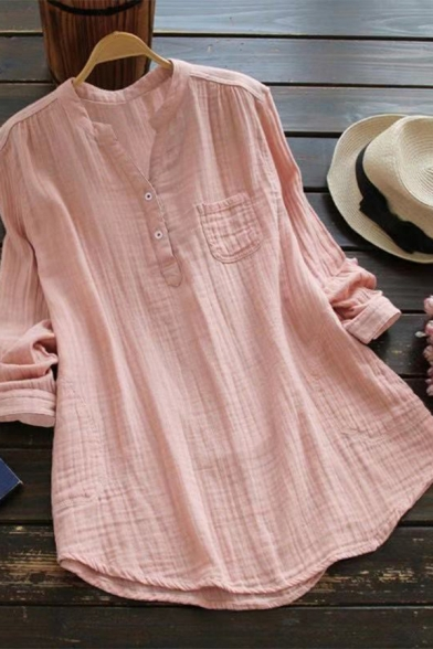 Trendy Women's Shirt Blouse Solid Color Chest Pocket Button Detail Pleated Asymmetrical Hem Long-sleeved Relaxed Fit Shirt Blouse