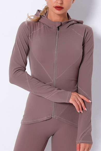 Casual Women's Jacket Solid Color Flatlock Stitching Finger Hole Asymmetrical Hem Zip Closure Fitted Drawstring Hooded Cowl Collar Long Sleeved Fitted Jacket