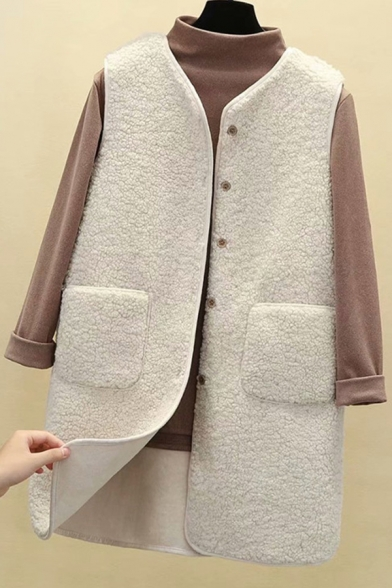 Fancy Women's Vest Fur Fleece Button Fly Pocket Front Sleeveless Regular Fitted Fur Tunic Vest