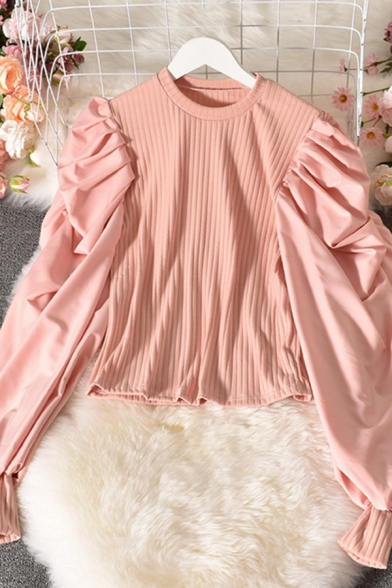 Girls Blouse Solid Color Puff Sleeve Crew Neck Knit Panel Slim Fit Chic Blouse Top