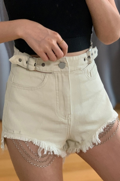Hot Womens Shorts Denim Solid Color High Rise Chain Embellished Fitted Shorts