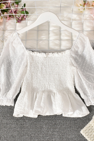 Stylish Ladies Blouse Sheer Short Sleeve Off the Shoulder Ruffled Pintuck Plain Cropped Blouse