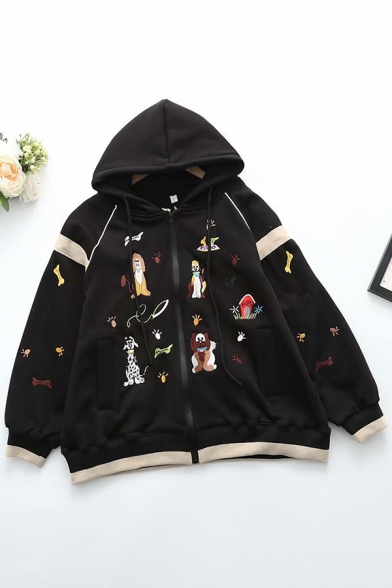 Trendy Women's Jacket Cartoon Dog Pattern Contrast Stitching Zip Closure Long-sleeved Drawstring Hooded Relaxed Fit Jacket