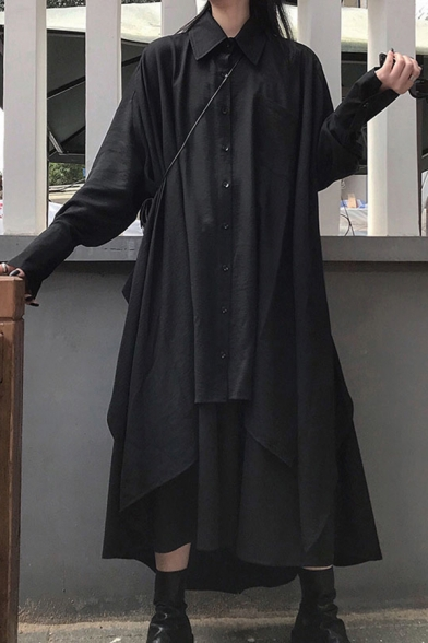 Unique Women's Shirt Solid Color Button Fly Point Collar Chest Pocket Long Sleeves Asymmetrical Hem Relaxed Fit Shirt