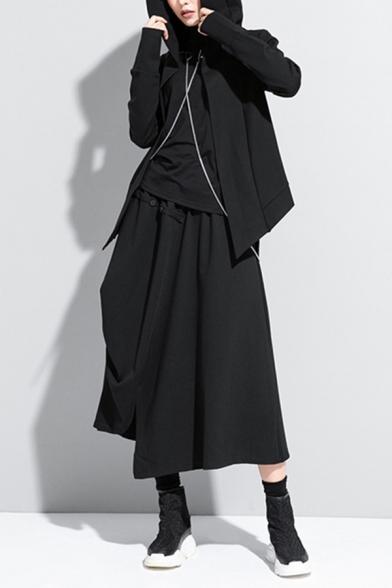 Womens Hip Hop Coat Long Sleeve Hooded Open-front Asymmetric Hem Relaxed Coat in Black