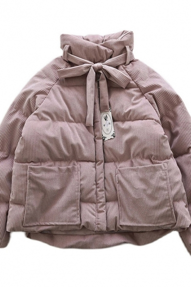 Fancy Women's Coat Solid Color Corduroy Quilted Front Pocket Front Tie Long-sleeved Stand Collar Relaxed Fit Down Coat