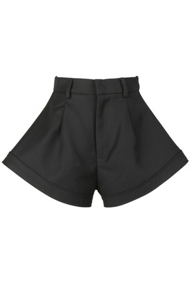 Fancy Women's Shorts Solid Color High Rise Relaxed Fit A-Line Flare Shorts