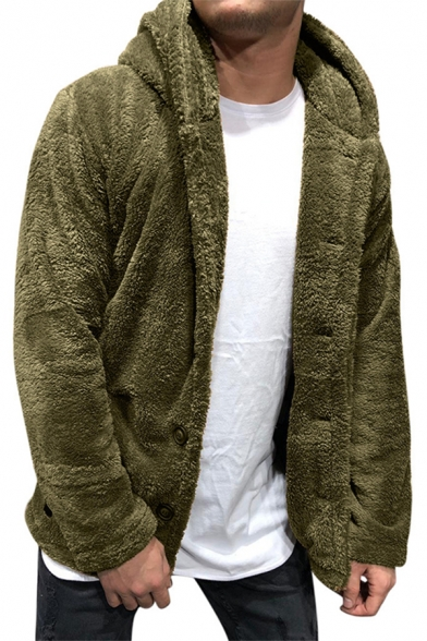 Mens Popular Whole Colored Long Sleeve Zip Placket Slim Fit Fluffy Drawstring Hoodie