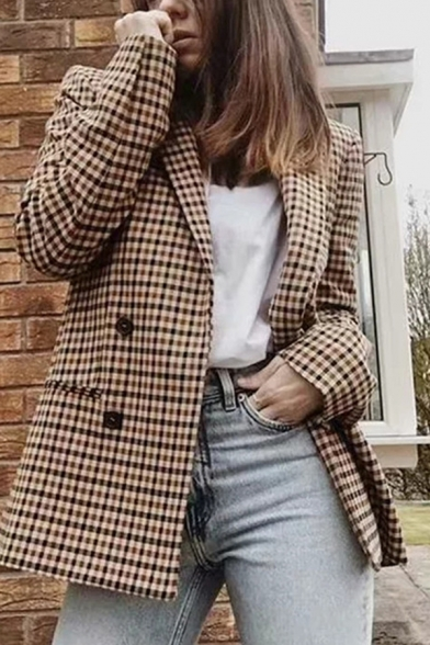 Retro Womens Jacket Gingham Print Pockets Front Shoulder Pad Double Breasted Long Sleeve Lapel Collar Loose Fit Suit Jacket