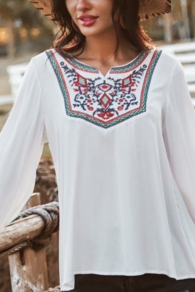 Womens Ethnic Shirt Floral Embroidered Long Sleeve V-neck Loose Fit Shirt in White