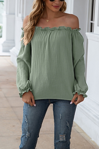 Womens Pretty Shirt Plain Long Sleeve Off the Shoulder Stringy Selvedge Relaxed Shirt