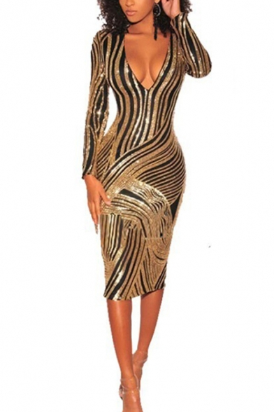 Boutique Ladies Dress Sequined Striped Long Sleeve Deep V-neck Midi Tight Dress in Gold