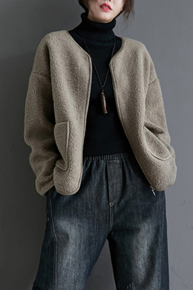 Fancy Women's Coat Lamb Wool Solid Color Front Pockets Zip Placket Long Sleeves Round Neck Regular Fitted Coat