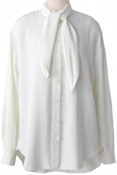 Fancy Women's Shirt Solid Color Tie Front Button Closure Long Puff Sleeves Regular Fitted Shirt