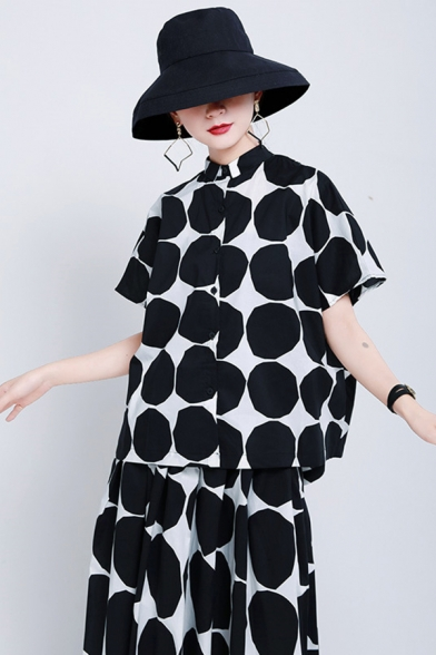 Retro Women's Shirt Blouse Graphic Pattern Button Fly Stand Collar Short Sleeves Relaxed Fit Shirt