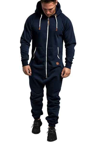 Sporty Men's Set Contrast Stitching Label Side Pocket Banded Cuffs Long Sleeves Regular Fitted Hoodie with Long Pants Co-ords