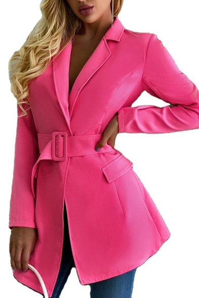 Stylish Women's Jacket Solid Color Flap Pocket Asymmetrical Hem Notched Lapel Collar Long Sleeves Regular Fitted Suit Jacket with Buckle Belt