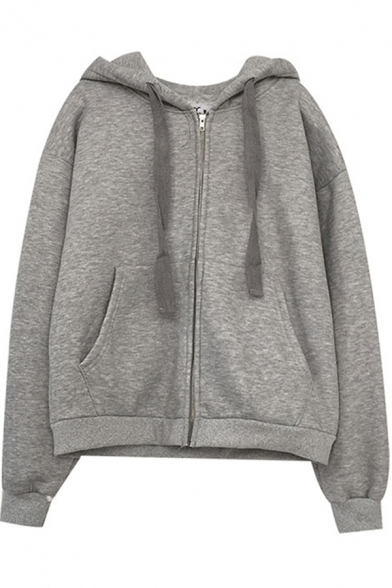 Trendy Women's Jacket Heathered Zip Fly Front Pocket Contrast Panel Long Sleeves Relaxed Fit Drawstring Hooded Jacket