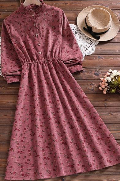 Gorgeous Womens Dress Ditsy Flower Print Long Sleeve Crew Neck Button Up Mid A-line Dress in Red