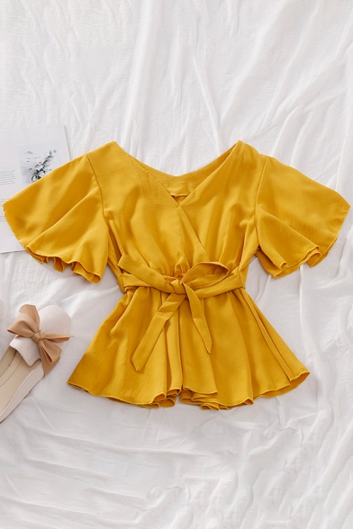 Leisure Women's Shirt Blouse Solid Color Wrap Front Short Butterfly Sleeve with Tie Waist