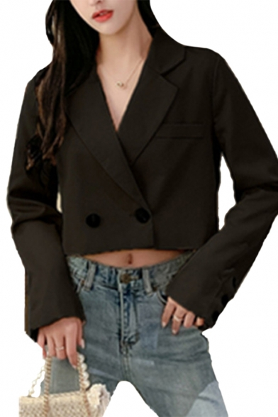 Women Stylish Plain Chic Chain Decoration Long Sleeve Double Button Cropped Suit Coat