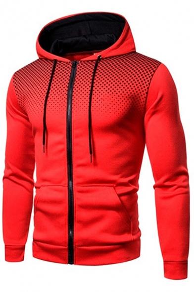 Basic Men's Hoodie Dot Print Zip Placket Front Pocket Long Sleeve Drawstring Hooded Sweatshirt