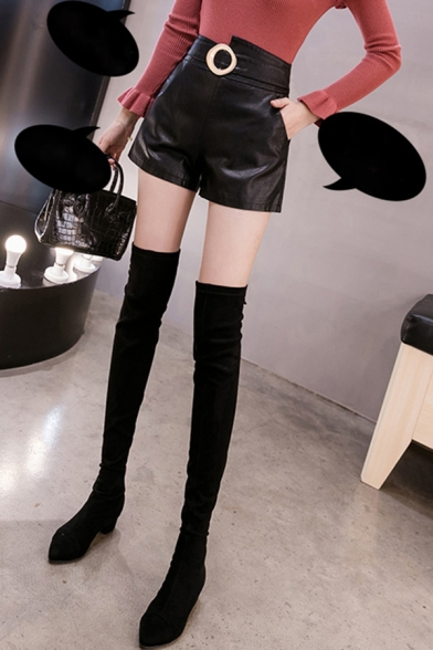 Chic Ladies Shorts Leather Plain Asymmetric Buckle High Waist Relaxed Fit Shorts in Black