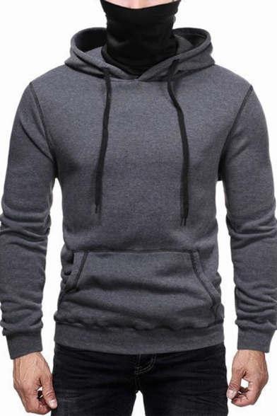 Leisure Men's Hoodie Contrast Piping Front Pocket Banded Cuffs Long Sleeves Drawstring Hooded Sweatshirt