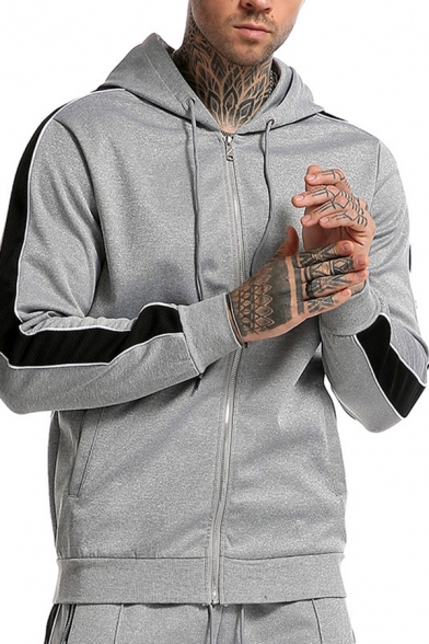 Leisure Mens Hoodie Contrasted Long Sleeve Zipper Front Relaxed Fit Hoodie