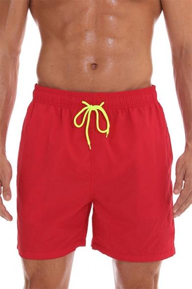 Men's Drawstring Waist Breathable Quick Dry Beach Sport Casual Swim Trunks