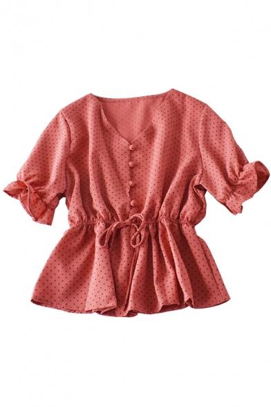 Casual Women's Shirt Blouse Polka Dot Pattern Button Fly Short Sleeve Drawstring Waist Regular Fitted Shirt Blouse
