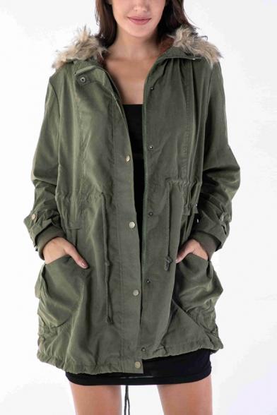 Winter's Warm Fur Hooded Long Sleeve Drawstring Waist Zip Up Longline Cotton-Padded Coat