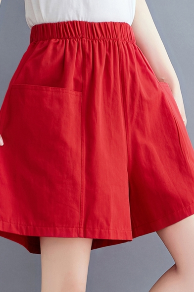 Casual Women's Shorts Solid Color Elastic Waist Front Pocket Regular Fitted Straight Shorts