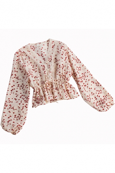 Elegant Women's Shirt Blouse All over Sweetheart Print Lace Trim Button Front Long Sleeve Regular Fitted Shirt Blouse