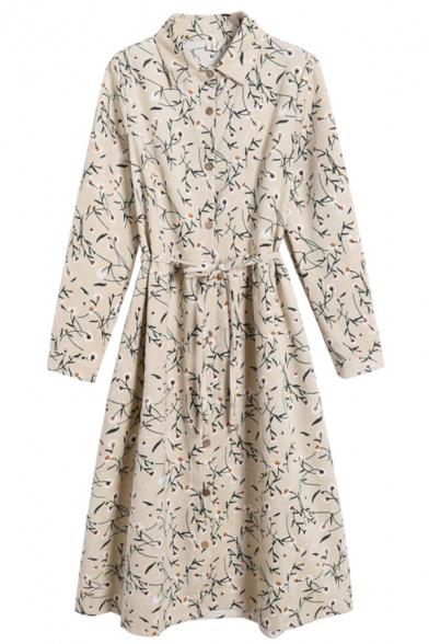 Leisure Womens Dress Ditsy Flower Print Long Sleeve Point Collar Button Up Tied Waist Mid A-line Dress