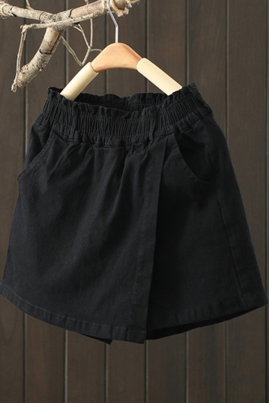 Casual Womens Shorts Solid Color Elastic Waist Patched Relaxed Shorts