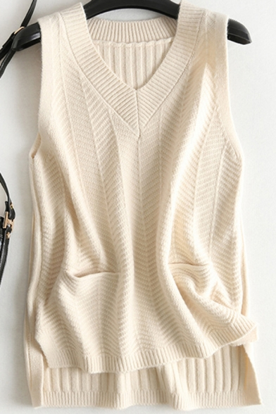 Fancy Women's Knit Vest Plain Ribbed Trim High-Low Front Pocket Sleeveless Regular Fitted Pullover Knit Vest