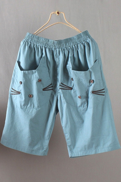 Popular Girls Shorts Cat Embroidery Elastic Waist Straight Shorts