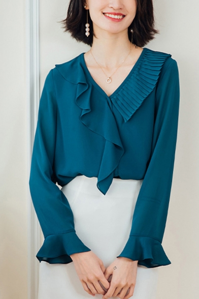 Pretty Ladies Shirt Plain Bell Long Sleeve Ruffled Surplice Neck Relaxed Fit Shirt Top in Peacock Blue